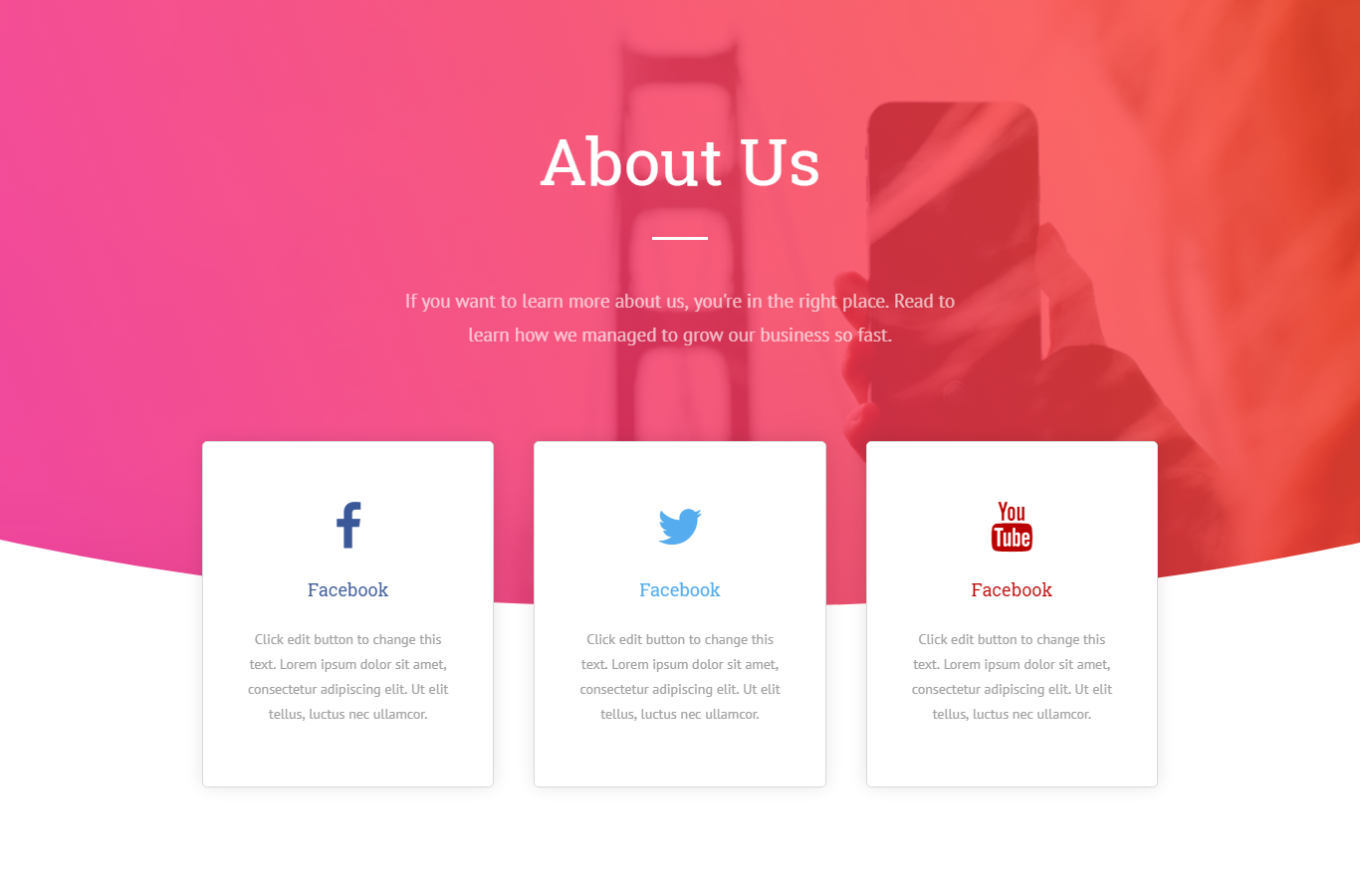 V5 – Hero Image About Us with Social Media Contact – TYLER
